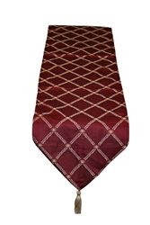 "Diamond Damask Burgundy - 13"" x 70"" Table Runner"