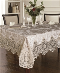Delux Cut Velvet Tablecloth Taupe