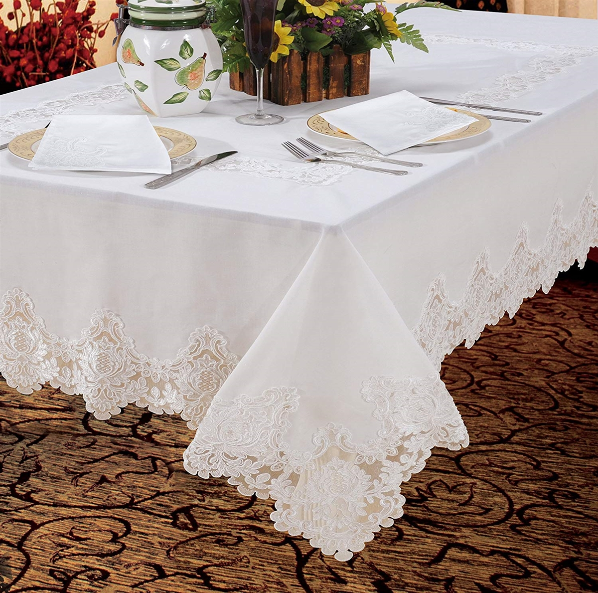 Imperial lace embroidered tablecloth for Tablecloth 52 x 120