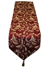 "Luxury Damask Burgundy Table Runner - 13"" X 70"""