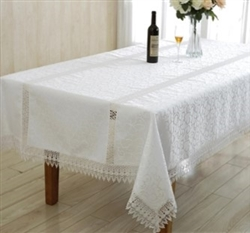 Ruby Jacquard & Lace Tablecloth