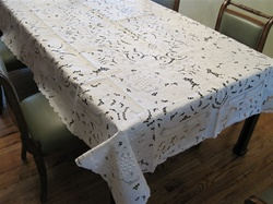 #002 Grape Design Hand Embroidered Tablecloth