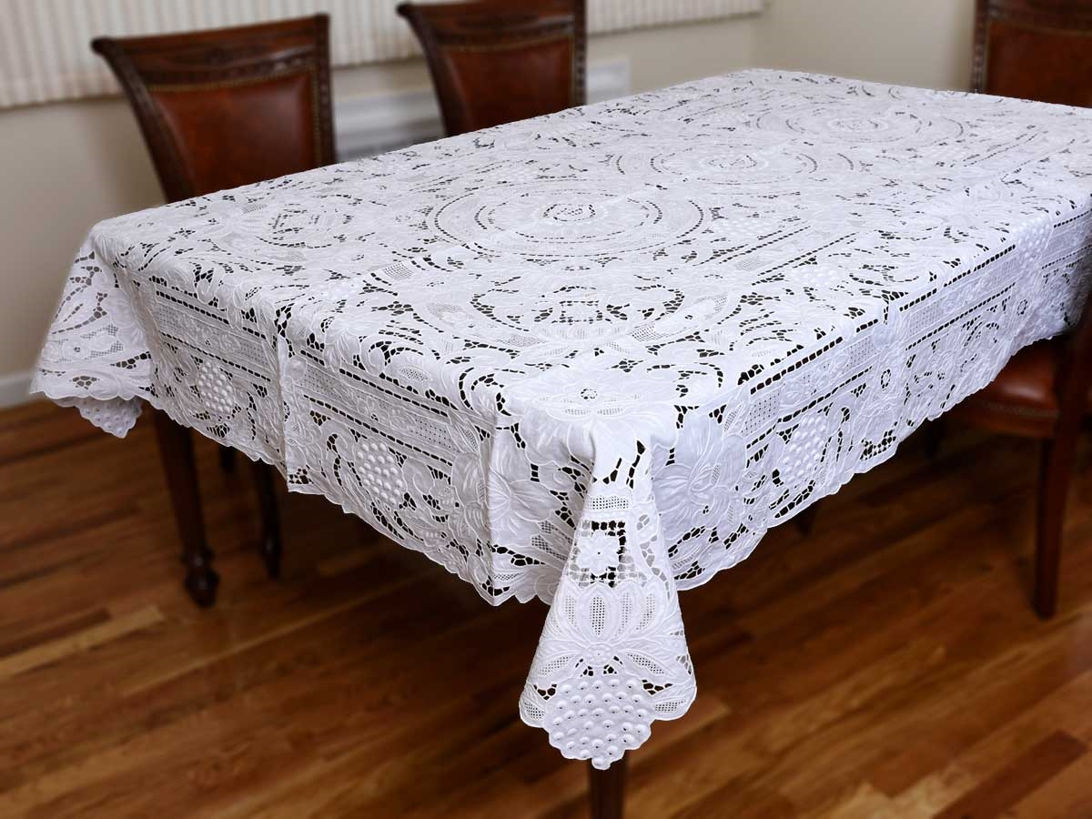 Superb #082 Grape Design Hand Embroidered Tablecloth