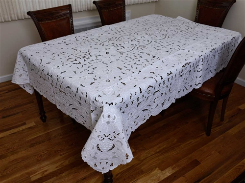 #3698 Grapes Design Hand Embroidered Tablecloth
