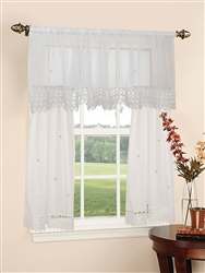 "Daisy Design Sheer 3pc Kitchen Curtain Set  18*60"" Valance + 2pcs 30*36"" Tiers."