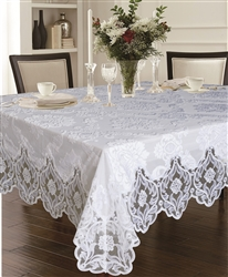 White Delux Cut Velvet Lace Tablecloth