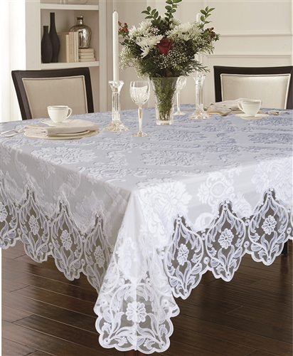 Delux Cut Velvet Tablecloth White