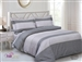 French Beige Grey Check 6 Piece Duvet Set
