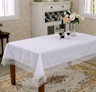 Flower Bow Lace Damask Tablecloths