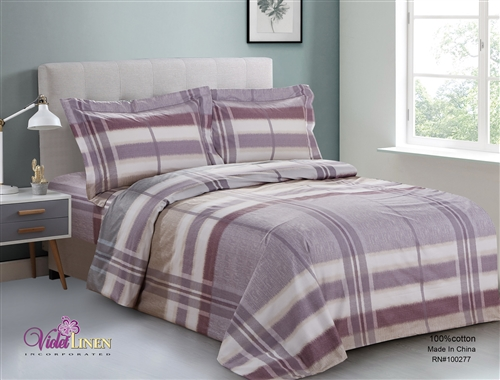 French Lavender Plaid 6 piece Luxurious Duvet sets,