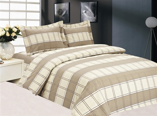 French Plaid 6 piece Luxurious Duvet sets,