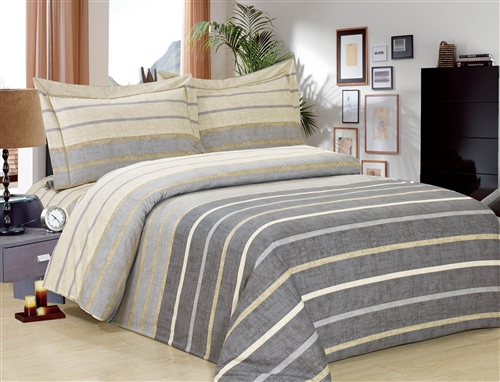 French Grey Stripe 6 piece Luxurious Duvet sets,