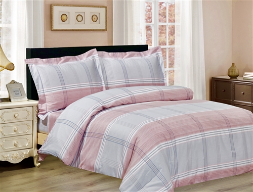 French Pink Grey Plaid 6 piece Luxurious Duvet sets,