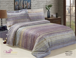 French Purple Stripe 6 piece Luxurious Duvet sets,