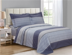 French Blue Stripe 6 Piece Duvet Set