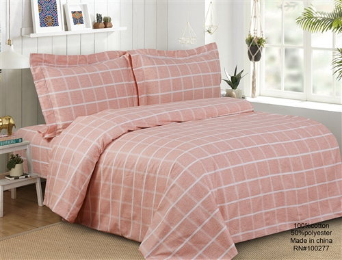 French Peach Check 6 Piece Duvet Set