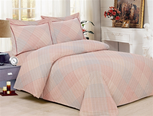 French Peach Plaid 6 Piece Duvet Set