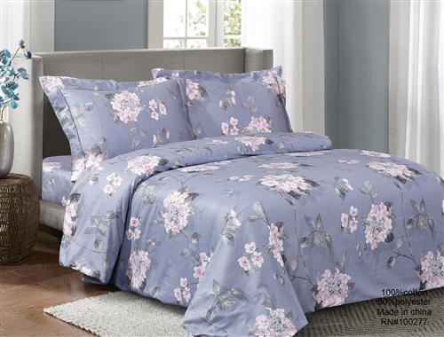French Pink VIolets 6 Piece Duvet Set