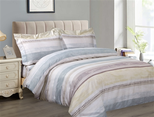 French Soft Brown Swirls 6 Piece Duvet Set