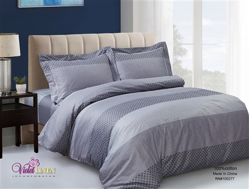 French Serena Stripe 6 Piece Duvet Set