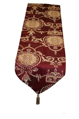 "Prestige Damask Table Runner - Burgundy - 13"" x 70"""