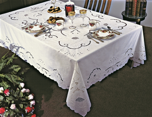Sapphire Embroidered Cut Work Tablecloths