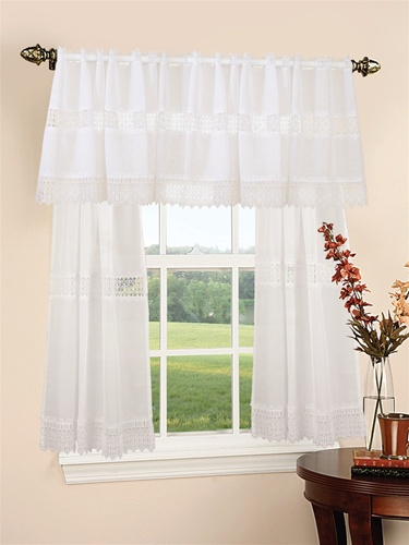 Treasure Design Sheer 3pc Kitchen Curtain Set 18 60