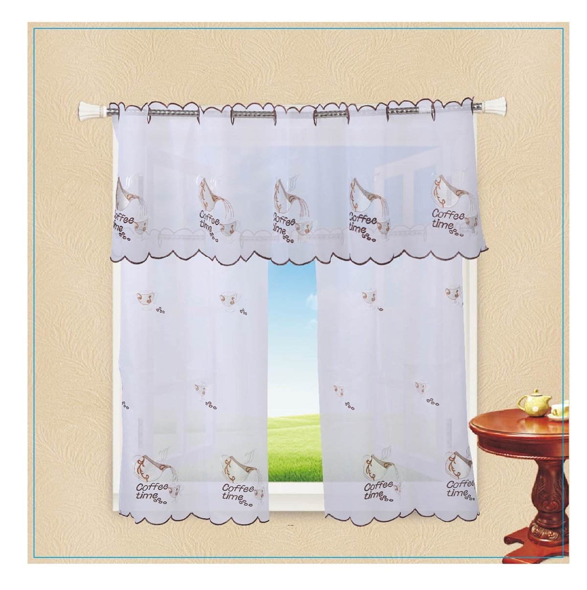 Violet Linen Ornate Sheer With Embroidered Flowers Design 3 Piece Kitchen Curtain Set White